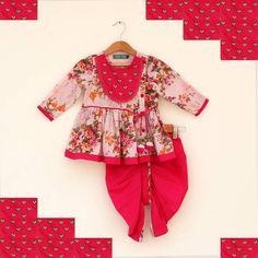 Pretty Floral Angrakha Kurta And Dhoti Set. #Stylemylo #kids #onlineshopping #kidswear #designerkidswear #rakhi #ethnic #babygirls #babyboys