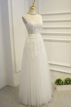 Lace appliqued ivory tulle prom dress, ball gowns wedding dress