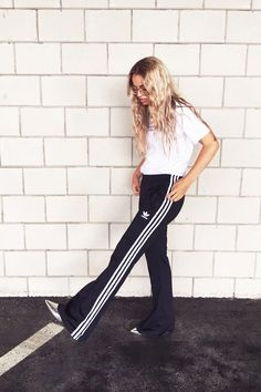 On Stephanie Broek:Adidas Originals Three Stripe Wide Leg…