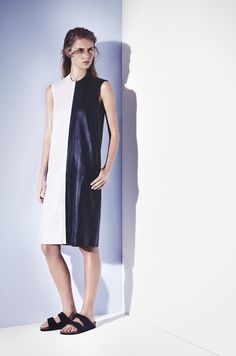 contrast leather tank dress