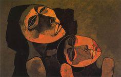 """Oswaldo Guayasamín (1919-1999). Ecuadorian master painter and sculptor of Quechua and Criollo heritage. """"Mother and child"""" (1986). Oil on Canvas. 80x120cm. Colección Fundación Guayasamín."""