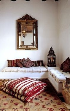 Moroccan Decor, love those red and white cushions