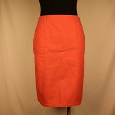 """Christopher & Banks Coral Skirt Mid-length coral skirt.   Has a jean like texture,  but is 100% cotton.   I'm 5'3"""" and the skirt goes slightly past my knees.  Has small slit in middle back of skirt.   Zipper is on the side. Christopher & Banks Skirts"""