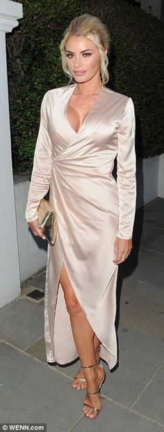 Rule-breakers: TOWIE's Chloe Sims and Jessica Wright certainly ensured they pulled out all the sartorial stops as they arrived at the ITV summer party in London's Notting Hill on Thursday night Silk Satin Dress, Satin Dresses, Sexy Dresses, Fashion Dresses, Women's Fashion, Friday Fashion Quotes, Wrap Over Dress, Chloe Sims, Plunge Dress