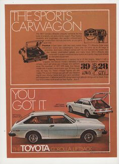 =-=1977 Toyota Corolla Liftback Advertisement