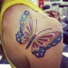 borboleta por Marcos Palmito em Banzai tattoo.