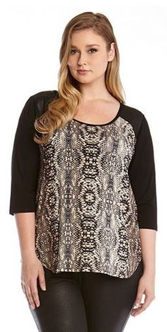 5683dde4f9 PLUS SIZE FAUX LEATHER SNAKESKIN YOKE TOP  Plus  Size  Fashion  Faux   Leather  Snakeskin  Animal  Print  Fabric  Design