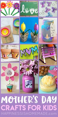These Easy Mother's Day Crafts for Kids make fantastic homemade Mother's Day gift ideas! Kid-made DIY Mother's Day gifts are the best! Make these cute Mother's Day kids crafts to celebrate your favorite Mom! via @hiHomemadeBlog