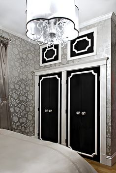 Chanel Themed Bedroom | An old Hollywood inspired bedroom, complete with chandelier, crystal ...