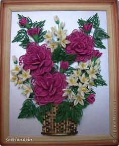 Картина, панно Квиллинг: Ажурные розы Бумажные полосы. Фото 7