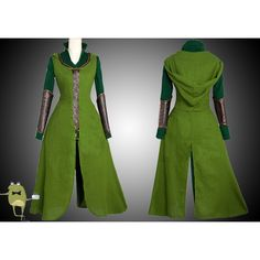 The Hobbit Tauriel Elf Costume Cosplay Buy ($270) ❤ liked on Polyvore featuring costumes, christmas elf costume, santa's elf costume, green halloween costumes, green elf costume and green costume