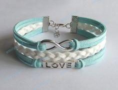 mint bracelets, infinity bracelet, love bracelet, infinity charm, men's women's leather bracelets, braided bracelets, gift for brithday on Etsy, $6.99