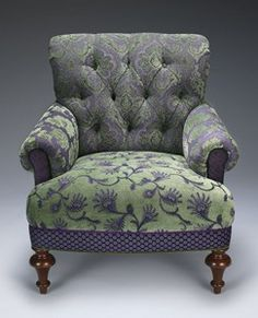 """Put your bottom on something a little different. """"Middlebury Chair Lavender/Green"""" Upholstered Chair Created by Mary Lynn O'Shea Chair Upholstery, Chair Fabric, Upholstered Furniture, Funky Chairs, Cool Chairs, Poltrona Vintage, Patterned Chair, Love Chair, Funky Furniture"""