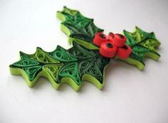 Quilled mistletoe - Holiday christmas mistletoe decoration - mistletoe - paper quilling