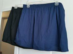 TWO PAIR Womens A-Line Skorts 2XL 1 Navy & 1 Black NEW, Original MSRP $21 Each #Alleson #SkirtsSkortsDresses