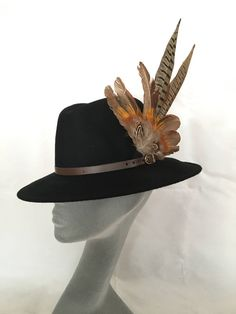 ARABELLA Ladies Black Wool Felt Trilby with Pheasant Feather Trim - Perfect  for Cheltenham Races edc477aeeb19