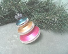 Tiered Christmas tree shaped glass ornament / vintage Shiny Brite glittered stepped atomic tornado bauble