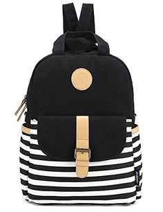 Coofit® Casual Style Lightweight Canvas Laptop Daypacks Black School Backpack for Teenages (Black)