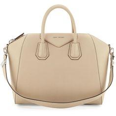 Givenchy Antigona Medium Leather Satchel Bag ($2,575) ❤ liked on Polyvore featuring bags, handbags, purses, beige buff, brown leather tote, leather tote, leather satchel purse, leather tote handbags and brown leather satchel