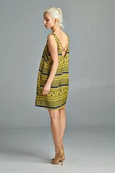 Aztec Shift Dress with Crossed Straps-11 Main