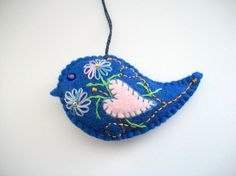 Felt Ornaments Blue Bird Easter or Home by HandcraftedorVintage