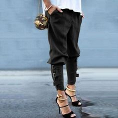 42f37eadbe7ee Look fabulous in these buckle cuff harem pants with pockets! Made from a  cotton blend