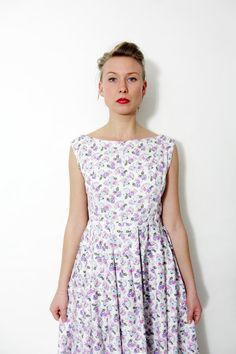 Vintage dress / 50's white floral sleeveless dress / by nemres, $49.00