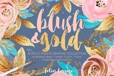 Blush & Gold Graphic Collection by Karamfila on @creativemarket