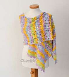 Lace crochet shawl, Colorful flower shawl, Cotton, P421 by Berniolie