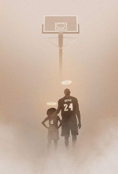 A heartbreaking drawing created by Australian artist Kode Abdo shows Kobe Bryant and his daughter, Gianna, getting ready for a basketball game in heaven. Kobe Bryant Family, Kobe Bryant Nba, Basketball Art, Basketball Players, Basketball Cookies, Basketball Drawings, Basketball Workouts, Basketball Quotes, Kentucky Basketball