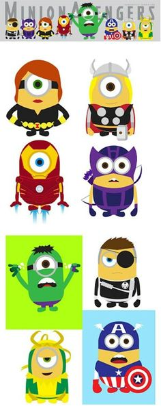 Minion Avangers - ok, I guess this is getting a bit off the theme, but I thought they're cute. I wouldn't mind a Thor minion at all. Minion Avengers, Minion Superhero, Marvel Dc, You Are My Superhero, Minions Love, Funny Minion, Wonderful Day, Bd Comics, Despicable Me