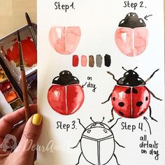 How to draw a ladybug, four step instruction, drawing with watercolor paints The post Pictures for tracing for beginners and advanced appeared first on Woman Casual - Drawing Ideas Watercolour Tutorials, Watercolor Techniques, Art Techniques, Watercolor Paintings For Beginners, Watercolor Drawing, Painting & Drawing, Prima Watercolor, Gouache Painting, Watercolor Illustration Tutorial