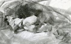 Bridgette Reclining by Jennifer McChristian Charcoal ~ 11 x 16
