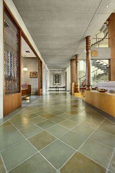 Country house that brings nature into the built form Four corners - the diaryCountry house that brings nature into the built form Four corners - the diaryAjay Patel Residence Indian Home Design, Indian Home Interior, Kerala House Design, Indian Home Decor, Kota Stone Flooring, Chettinad House, House Architecture Styles, Residential Architecture, Modern Architecture