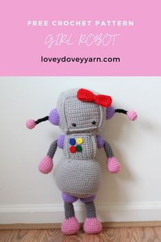 She may be a robot, but she's soft, cuddly, and full of love! Click here to learn how to crochet this amigurumi girl robot with my free pattern! #crochetfreepattern #amigurumipattern #crochetrobot #crochetgirlrobot #crochetgirlrobotgfreepattern Crochet Girls, Cute Crochet, Crochet Yarn, Crochet Toys, Afghan Crochet Patterns, Amigurumi Patterns, Knitting Patterns, Lovey Dovey, Love Is Free