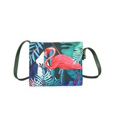 Canvas Tropical Painted Crossbody Bag (¥1,820) ❤ liked on Polyvore featuring bags, handbags, shoulder bags, canvas handbags, white crossbody purse, white purse, canvas cross body handbags and canvas crossbody