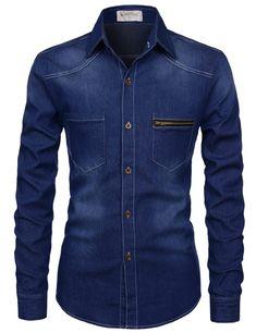 TheLees Slim Chest Two Pocket Vintage Washing Denim Long Sleeve Stretchy Shirts Denim Shirt Men, Denim Jacket Men, Men's Denim, Denim Style, Blazer Fashion, Denim Fashion, Fashion Suits, African Clothing For Men, Jean Shirts