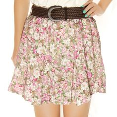 Floral Flower Print Elastic Short Skirt White Pink $23.99 FREE SHIPPING | Asiaphilic.com
