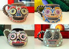 Day#268 - POTTERY Under glazing the Dead Dia de los Muertos  365 Day Art & Creativity Challenge www.becreativemary.com