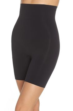 SPANX® Higher Power Mid-Thigh Shaping Shorts (Regular & Plus Size) | Nordstrom Yoga Shorts, Shorts Ootd, Top Band, Racerback Sports Bra, Spanx, Thighs, Nordstrom, Plus Size, Swimwear