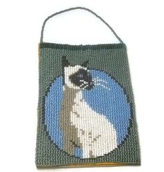 Siamese Cat Wall Hanging Picture Beaded Wall by SmileykitCreations, $30.00