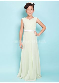 Cheap and Australia Affordable Sage Chiffon Long Ribbon Lace Up Junior Bridesmaid Dresses from Dresses4Australia.com.au
