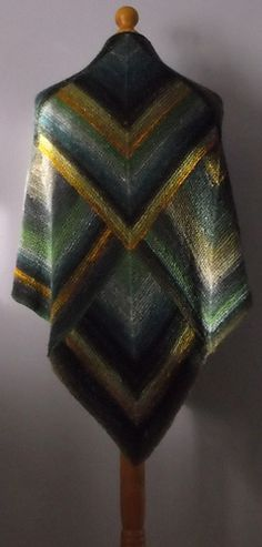 Fabulous Mitered squares wrap in Noro Silk Garden  color inspiration - inspiration - translate to crochet