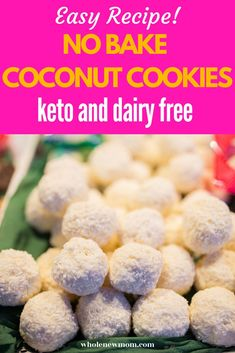 If you love coconut cookies you will love this easy keto and dairy free no bake recipe. So easy to make - they are ready in minutes. You can even enjoy then if you are on a gluten free, low carb diet! Coconut Recipes, Low Carb Recipes, Real Food Recipes, Vegan Recipes, Yummy Healthy Snacks, Easy Snacks, No Bake Coconut Cookies, Plant Based Breakfast, Paleo