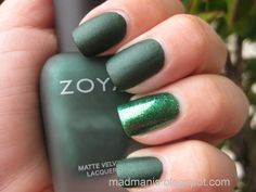 St. Patrick's Day mani One of my favorites! Love the flat paint color. Very dramatic, and urban professional. A great way for a sophisticated woman to still have some festive fun. St Patty's Day Saint Patrick's