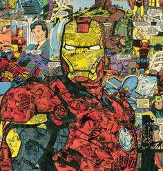 Impresión de Giclee de mi collage cómic de Iron Man. Iron Man en semi perfil con el miedo del cabo Memorial Bridge en el fondo (Iron Man 3 fue filmado en la mayor parte de Screen Gems aquí en Wilmington, Carolina del norte). Todos los cómics son de 1991-1993 con bastantes