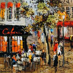 Cafe - painting by Michael Rozenvain at Crescent Hill Gallery