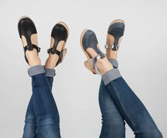 new silver and blue nubuck clogs and black t-bar clogs  #lottafromstockholm #clogs
