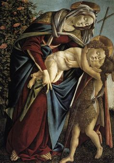 Madonna and Child and the Young St John the Baptist by BOTTICELLI, Sandro #art