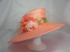 Coral Kentucky Derby Hat by HatTrix on Etsy.